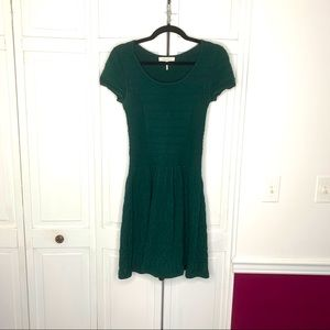 Sandro Dark Green Knit Fit and Flare Dress